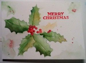 Watercolor christmas card holly pinturas navide as for Pinturas navidenas