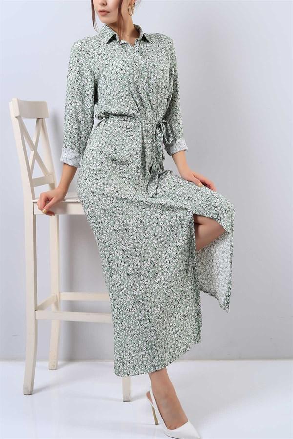 54 95 Tl Yesil Cicek Desenli Bayan Gomlek Elbise 15640b Modamizbir Elbise Gomlek Elbise The Dress