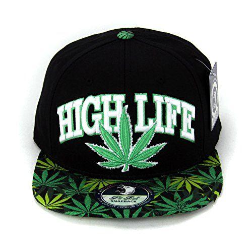 1da0ee62df7 Cap2shoes Marijuana Weed Leaf Cannabis Snapback Hat Cap (High Life Black)  Cap2Shoes