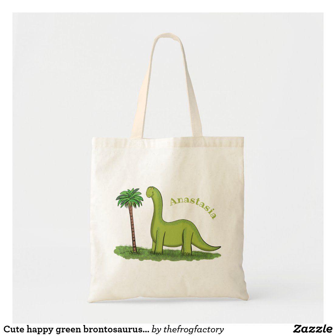 Cute Happy Green Brontosaurus Dinosaur Cartoon Tote Bag Zazzle Com Tote Bag Bags Tote