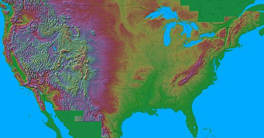 Maps of North America The map uses a false color 3D shading to