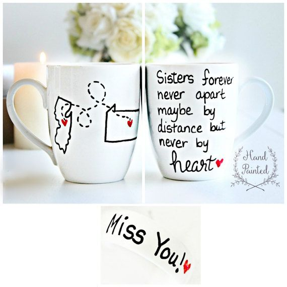 s urs mug s urs cadeau tasse caf soeur cadeaux pour cadeau de soeur soeur main peint. Black Bedroom Furniture Sets. Home Design Ideas