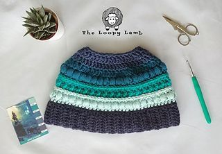 The Polar Puff Messy Bun Hat pattern by Ashley Parker #messybunhat