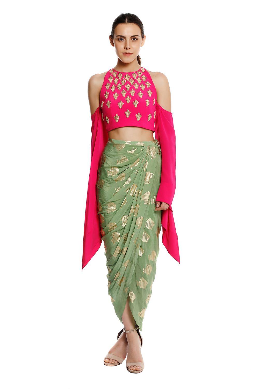 b69eaeef06c6cb Indian, Pink Kalash Embellished Cold Shoulder Blouse With Mint Heritage  Fish Draped Skirt