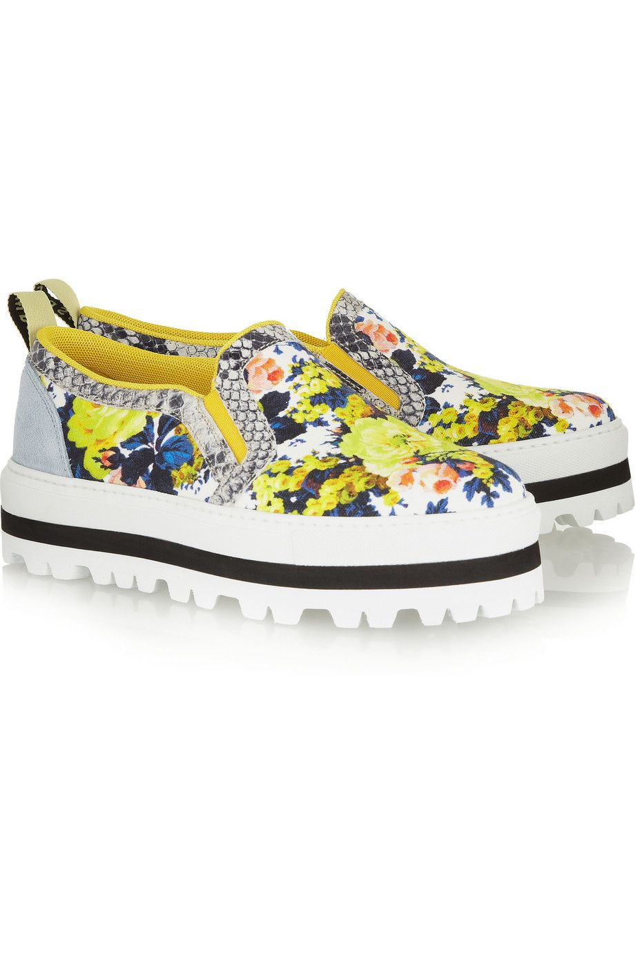 426a71450548 MSGM Floral-Print Canvas Sneakers