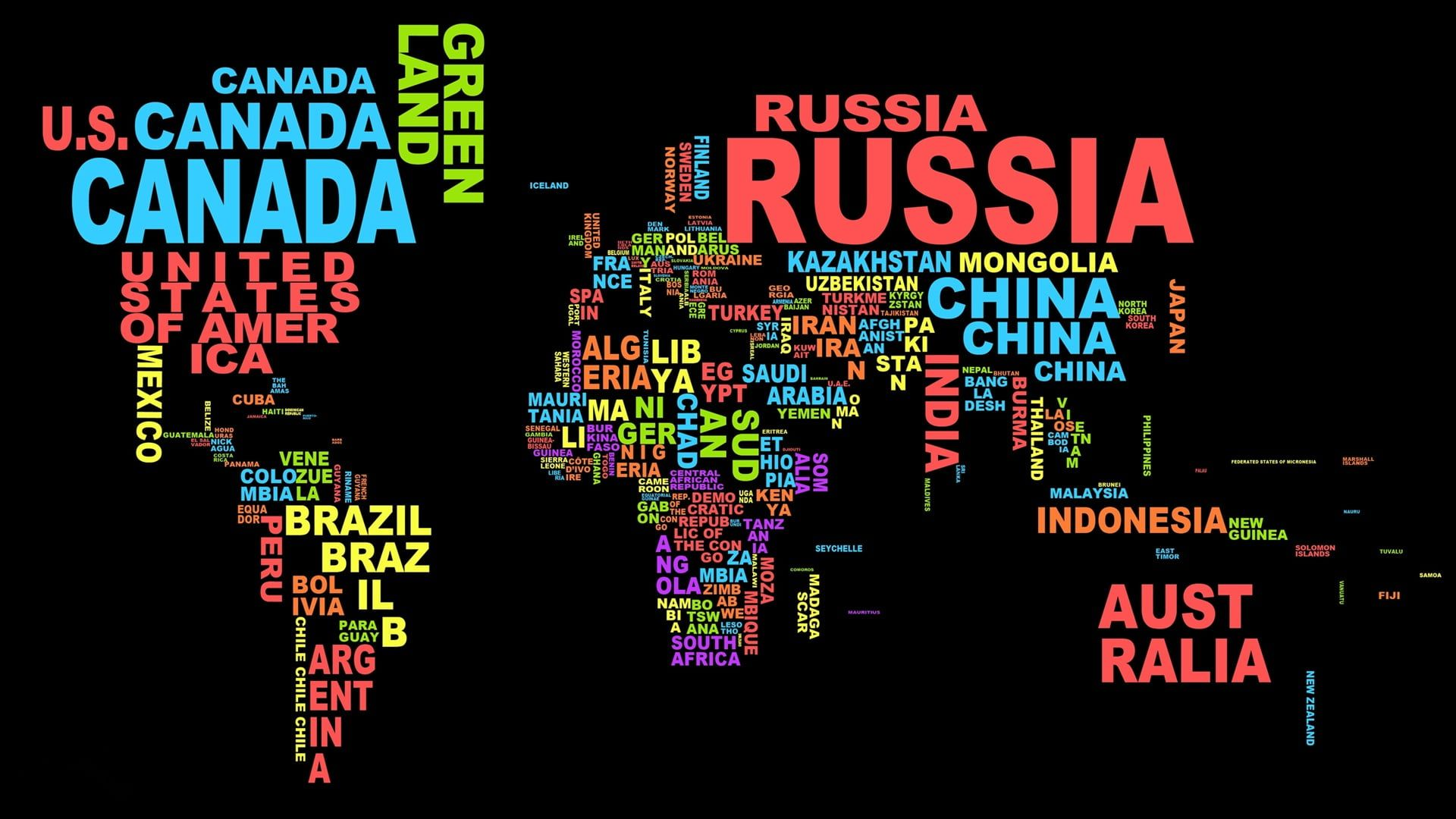 World Map Word Cloud Photo Of World Map In Text Format Map Typography Colorful Dark Black Background Worl World Map Wallpaper World Map Art Map Wallpaper