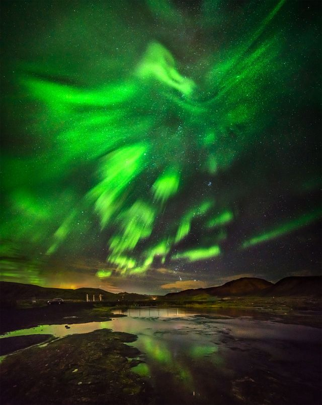 A photographer in Iceland may have snapped the best Northern Lights photos you will ever see, including one picture that resembles an outstretched phoenix rising above the country's dramatic landscape.  Hallgrimur P. Helgason took the pictures in