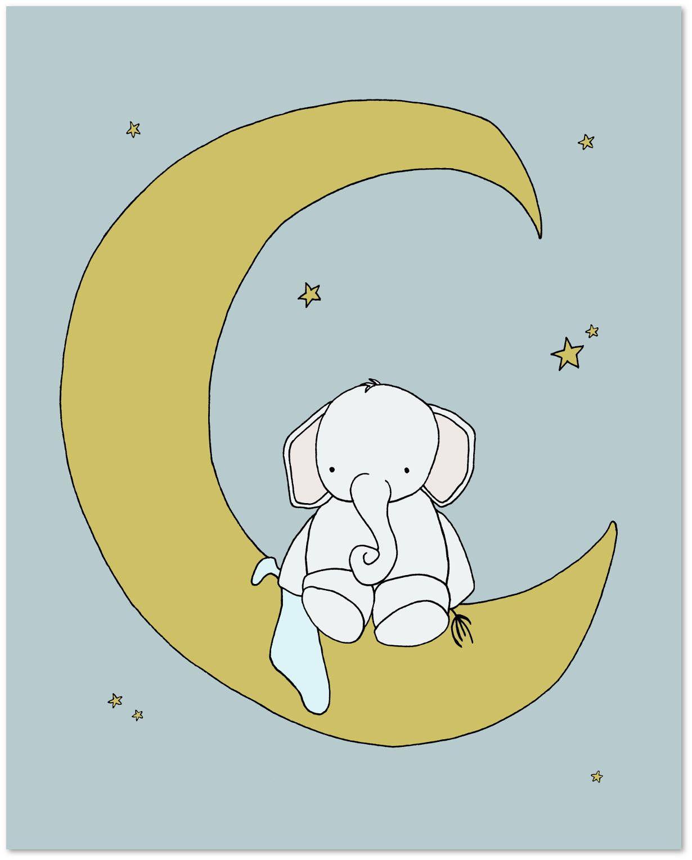 Elephant Nursery Art Print -- Baby Elephant Moon and Stars Awake ...