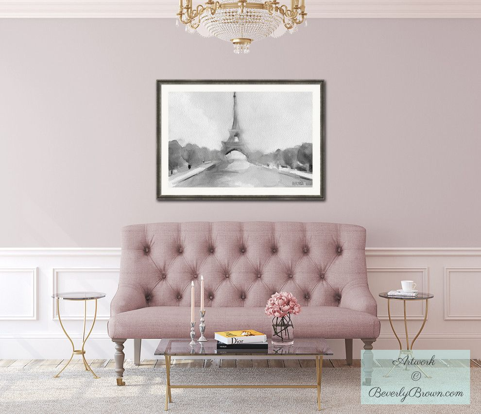 10 gorgeous nude and blush pink living spaces parisian for Mauve living room decor