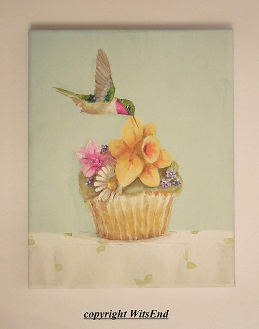 Hummingbird Cupcake painting RESERVED FOR S original ooak spring flowers art