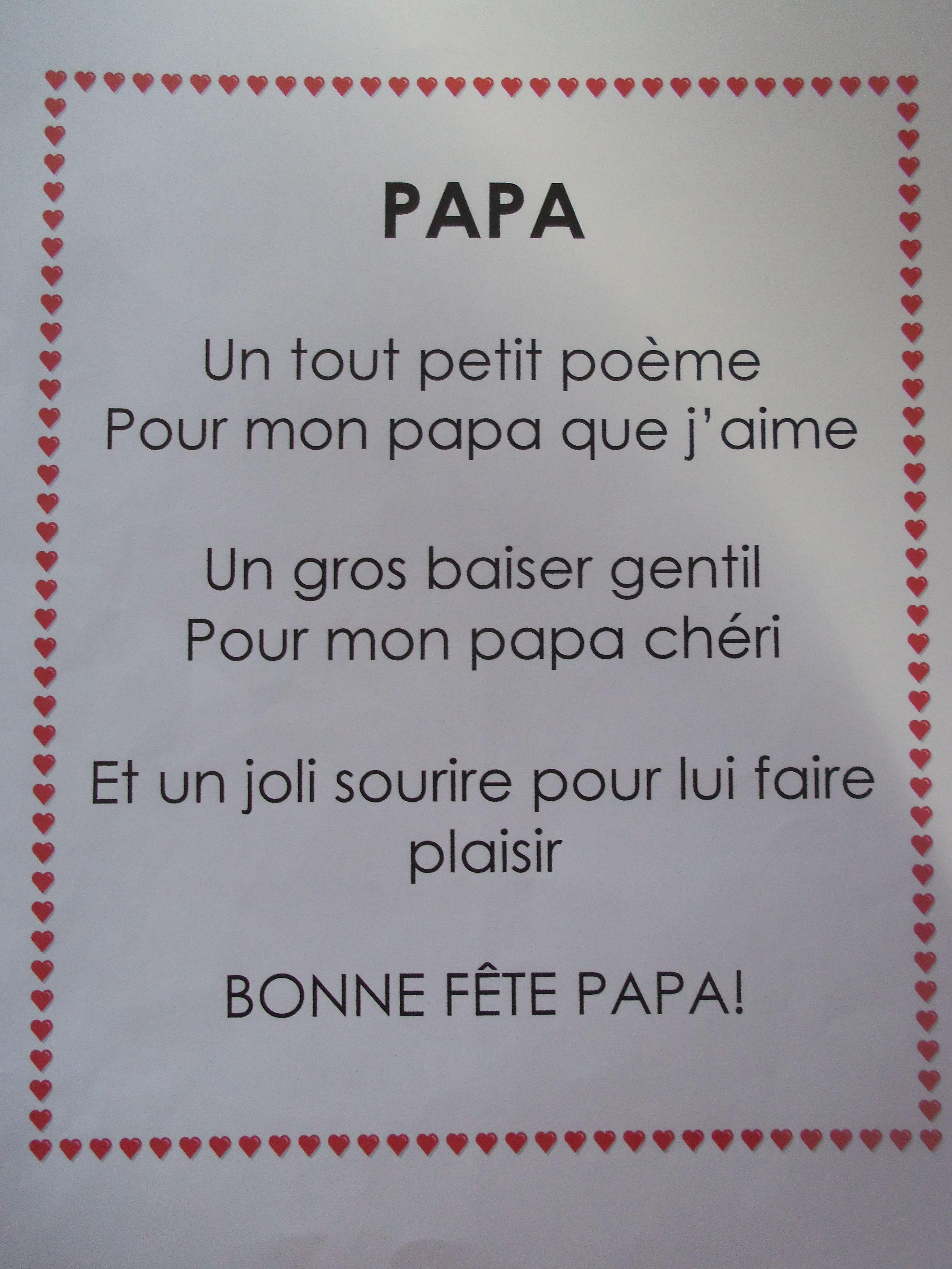 Po me pour la f te des p res f te parents pinterest - Poeme anniversaire papa ...