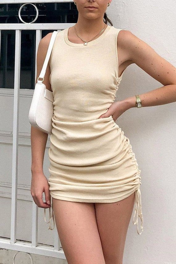 S Solid Side Drawstring Short Sleeveless Dress