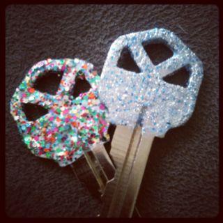 Glitter polish on keys.