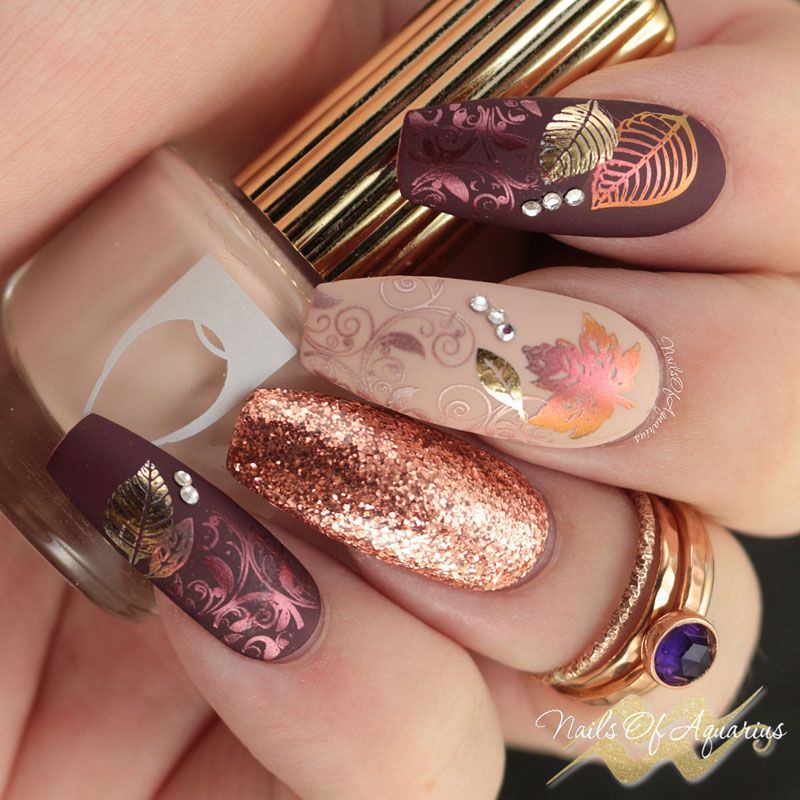 Leaves Are Fall-ing: Pigment and Foil Stamped Nail Art #fallnails