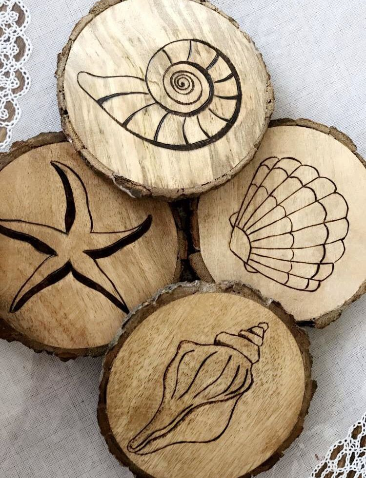Coastal Coasters #nautical #shells #seashells #madetoorder #original #localart #capemay #cmnj #beach #rustic #weddinggifts #home #simple #farmhouse #beachcottage #woodburning #creativecreations