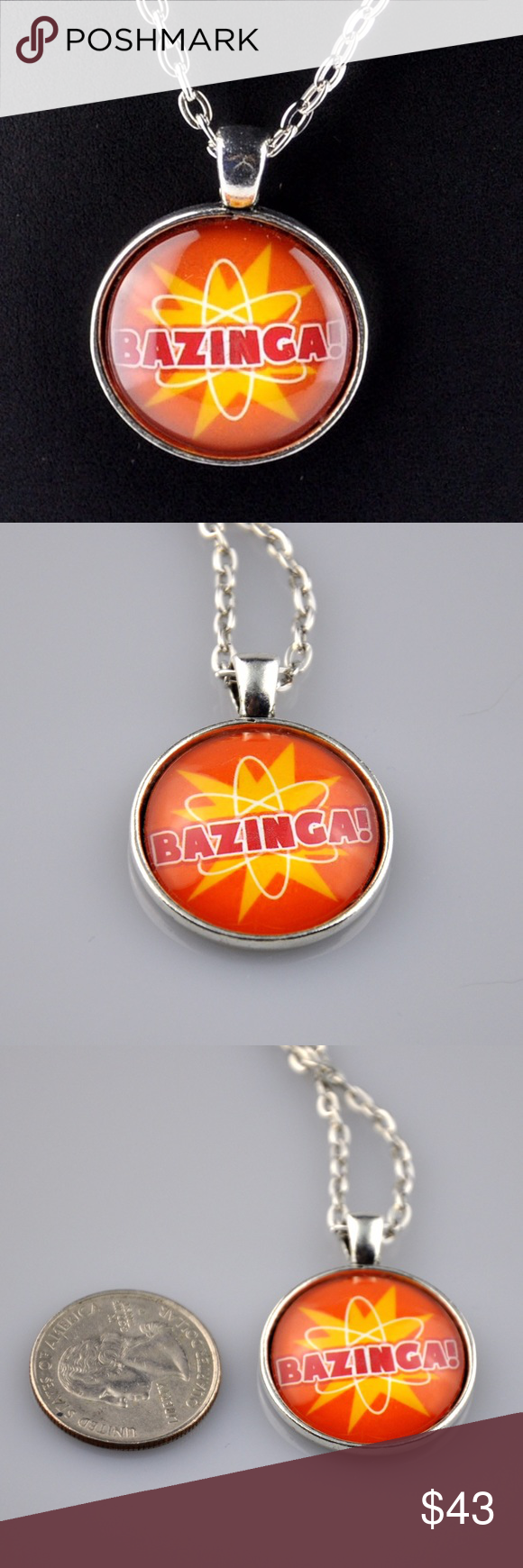 "Handmade Orange ""Bazinga"" Big Bang Theory Pendant What better way to channel you inner Sheldon Cooper than with this handmade Bazinga pendant. Pendant made with a high quality printed image sealed behind a high quality glass bezel that makes the colors POP! Then mounted in an antique silver tone tray. Pendant only 1"" round and this Big Bang theory necklace comes with matching 24"" chain necklace. Hand assembled so small air bubbles may be present. Not waterproof. Smoke free pet friendly home…"