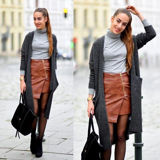 Lindex Grey Long Cardigan, H&M Brown Fake Leather Zipper Skirt ...