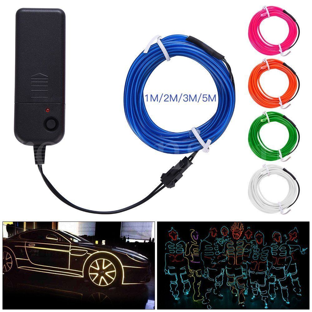 5M Battery Operated Luminescent Neon LED Lights Glow EL Wire String ...