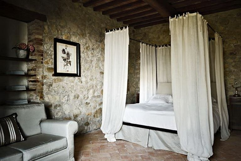 Old Italian Villa Bedroom Design Natural Stone Wall With White Netting And Sofa Lanewstalk Inspiration