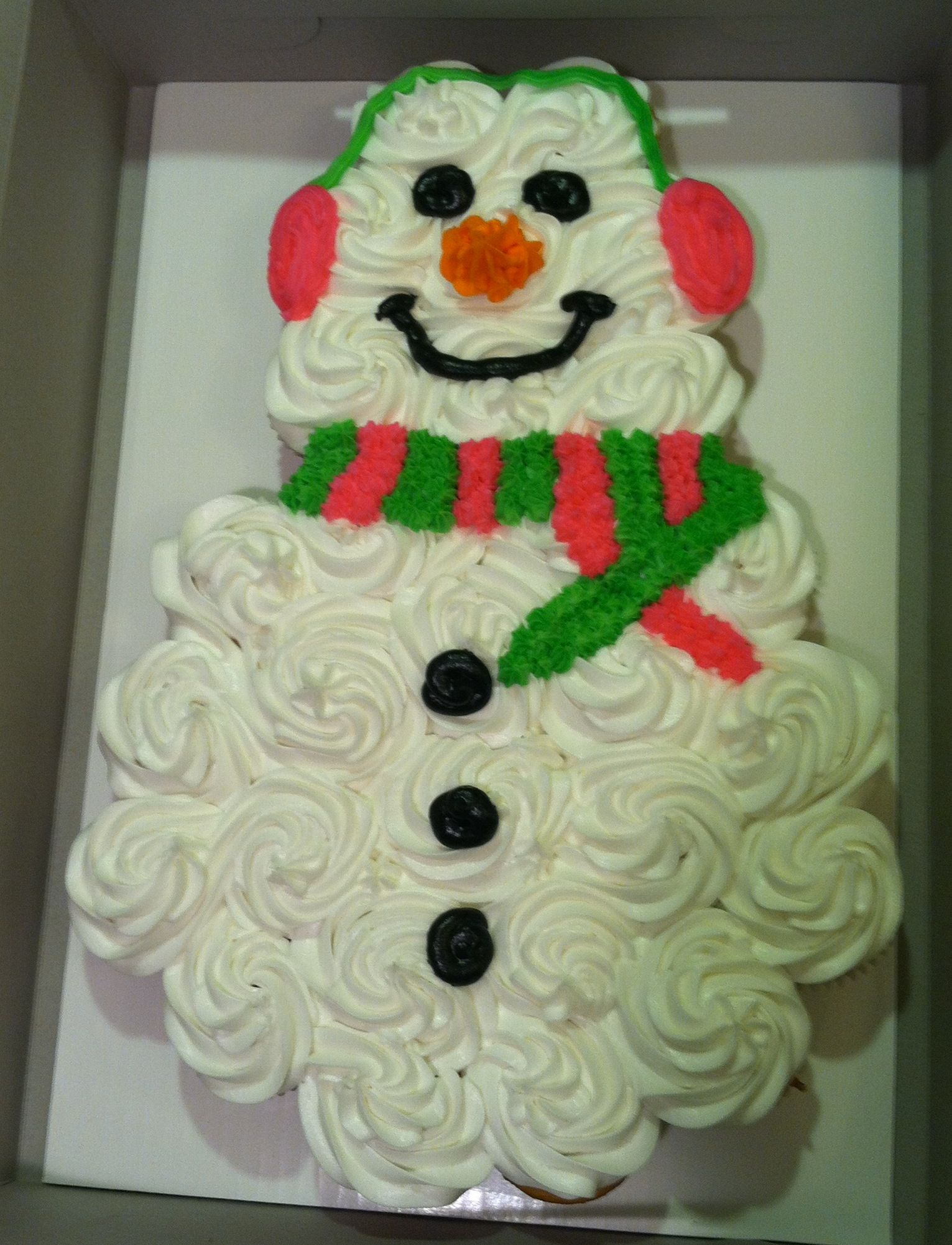 Snowman Snowgirl Cupcake Cake, all buttercream | Christmas ...