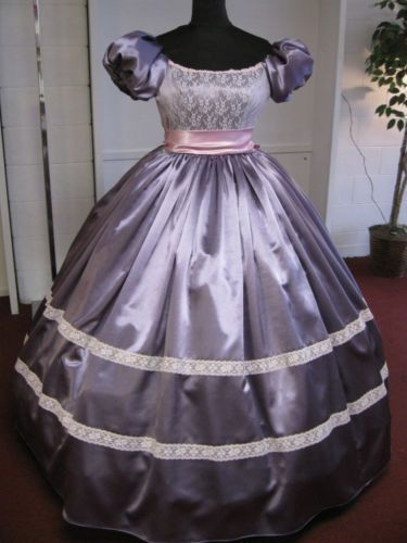 Details about Beautiful White Satin Civil War / Southern Belle Style Ball Gown - Size XXXL #dressesfromthesouthernbelleera French Lavender Satin & Pink Civil War Southern Belle Ball Gown   I like this one #dressesfromthesouthernbelleera