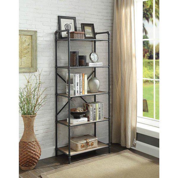 Crofoot Industrial 5 Tier Shelf Etagere Bookcase Metal Bookshelf Shelves Acme Furniture