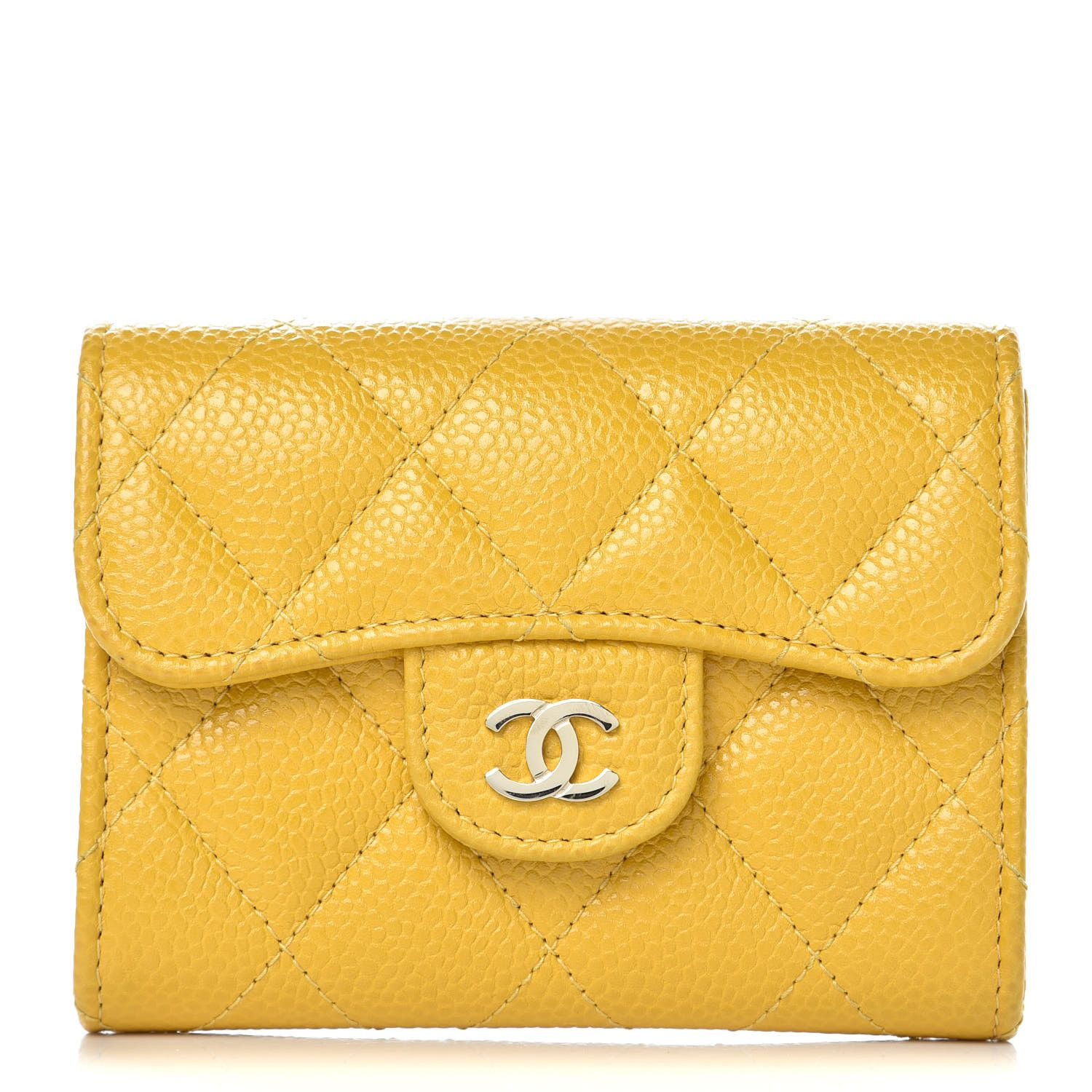 Chanel caviar quilted flap card holder wallet yellow in