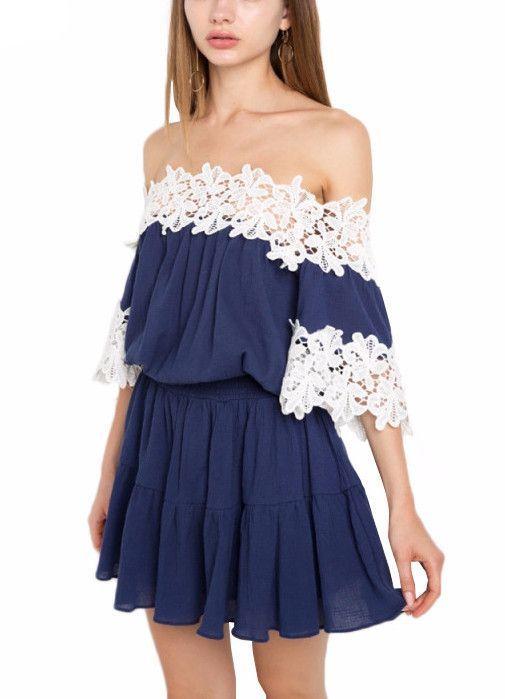 60e6073bd591 Shop Now! http   www.shopelettra.com products vera-crochet-trim-off-the- shoulder-mini-dress  utm campaign social autopilot utm source pin utm medium pin