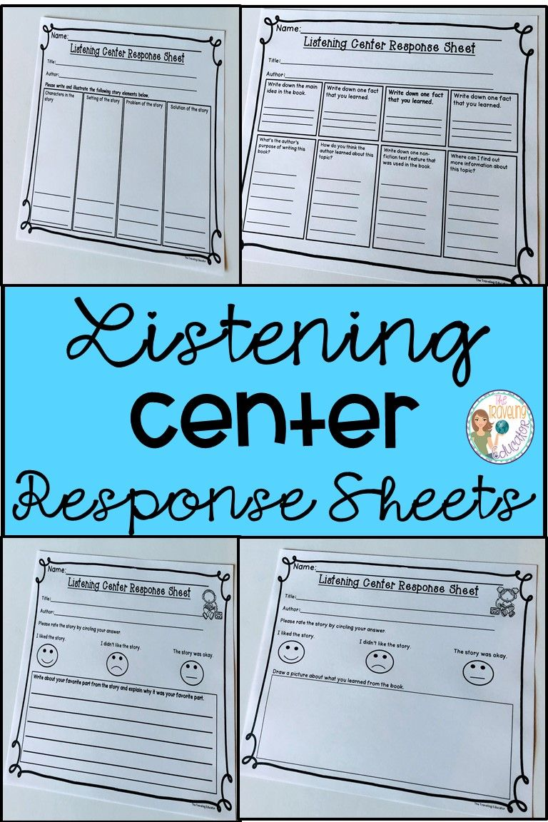 These Listening Center Response Sheets Will Help Keep Your Kinder 1st 2nd 3rd A Listening Center Listening Center Response Sheets Listening Center Response [ 1152 x 768 Pixel ]