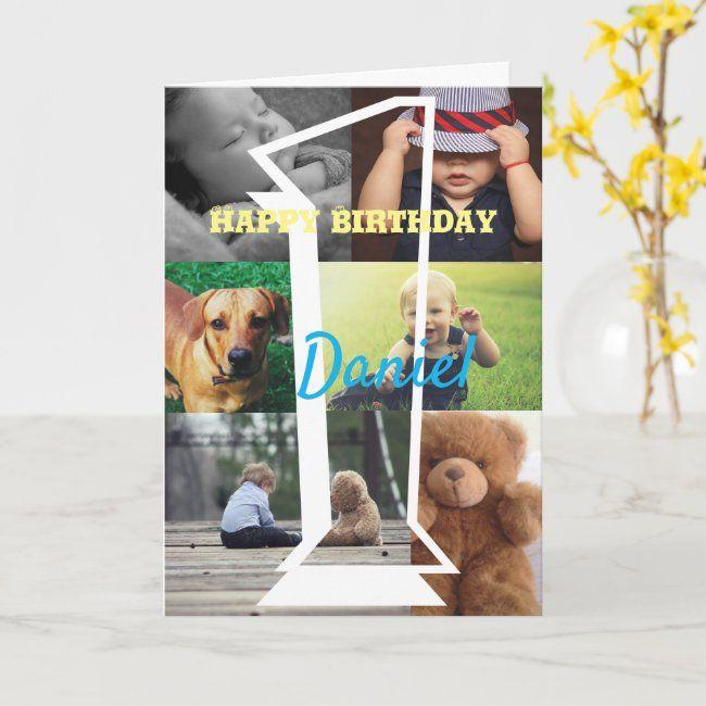 Personalised Photo Upload 1st Birthday Card Zazzle Com 1st Birthday Cards Birthday Cards Custom Holiday Card