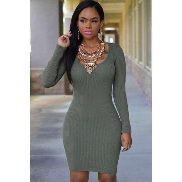 Long sleeve bodycon dress polyvore clothes