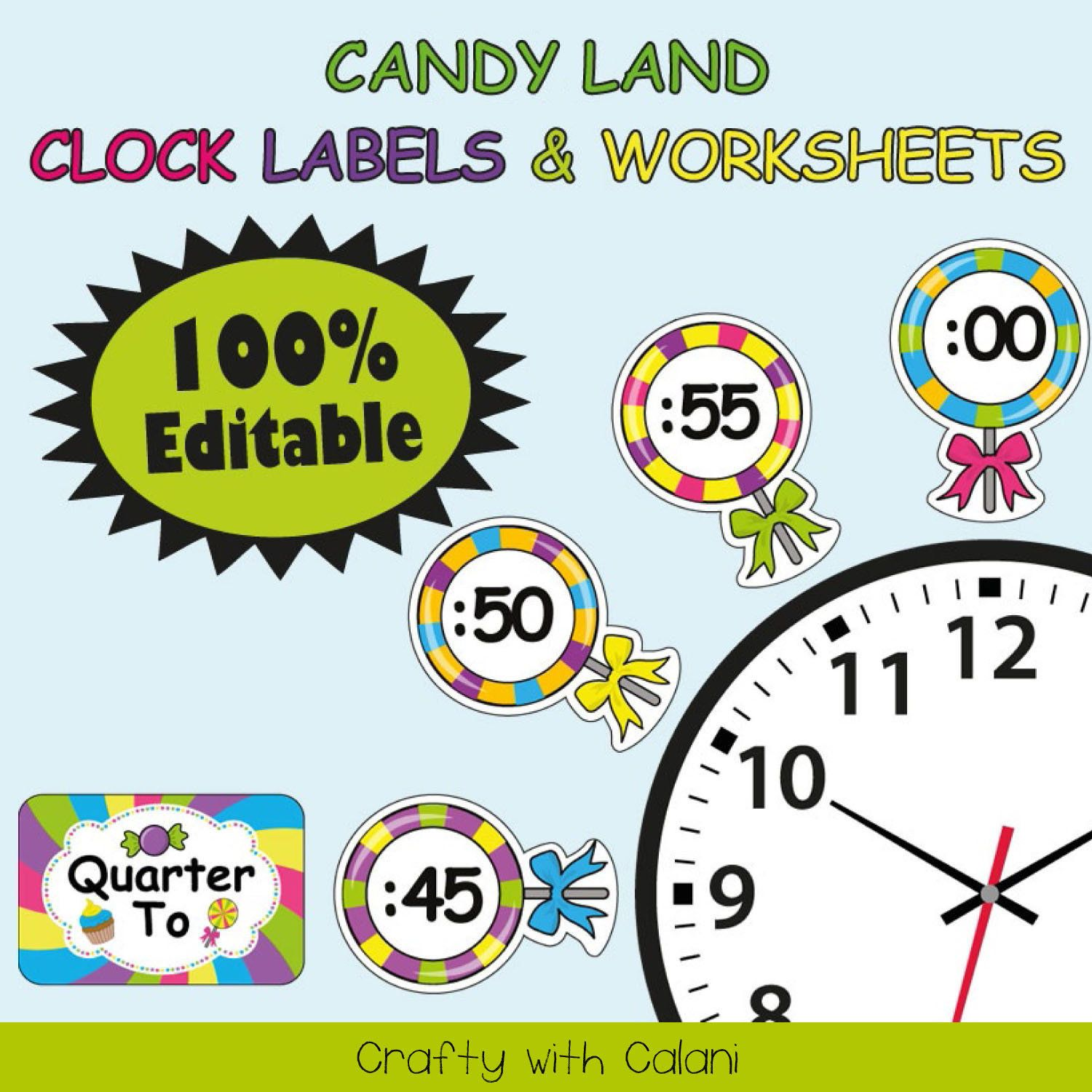 Clock Labels Classroom Decoration Candy Theme Classroom