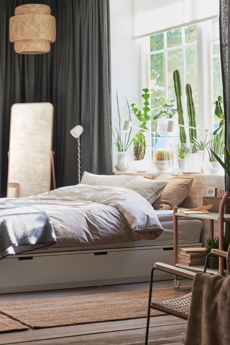NORDLI Bettgestell mit Kopfteil und Aufb. weiß IKEA