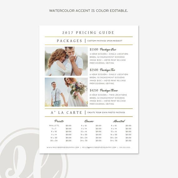 Photo Price List   Wedding Pricing Template, Photography Pricing Guide,  Wedding Photography Pricing Guide, Price Guide List