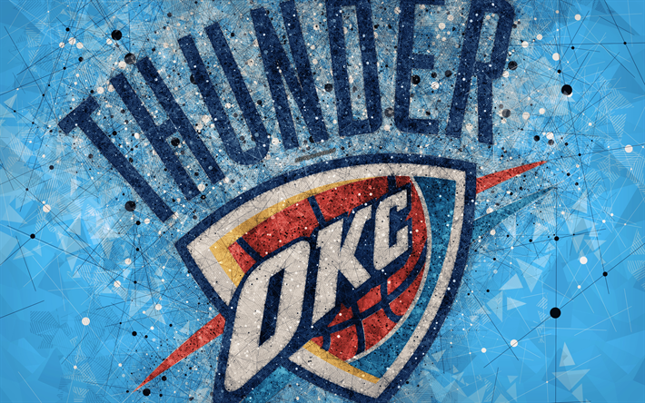 Download Wallpapers Oklahoma City Thunder 4k Creative Geometric Logo American Basketball Club Creative Art Nba Emblem Mosaic Blue Abstract Background N Oklahoma City Thunder Oklahoma City Thunder Logo Okc Thunder Basketball