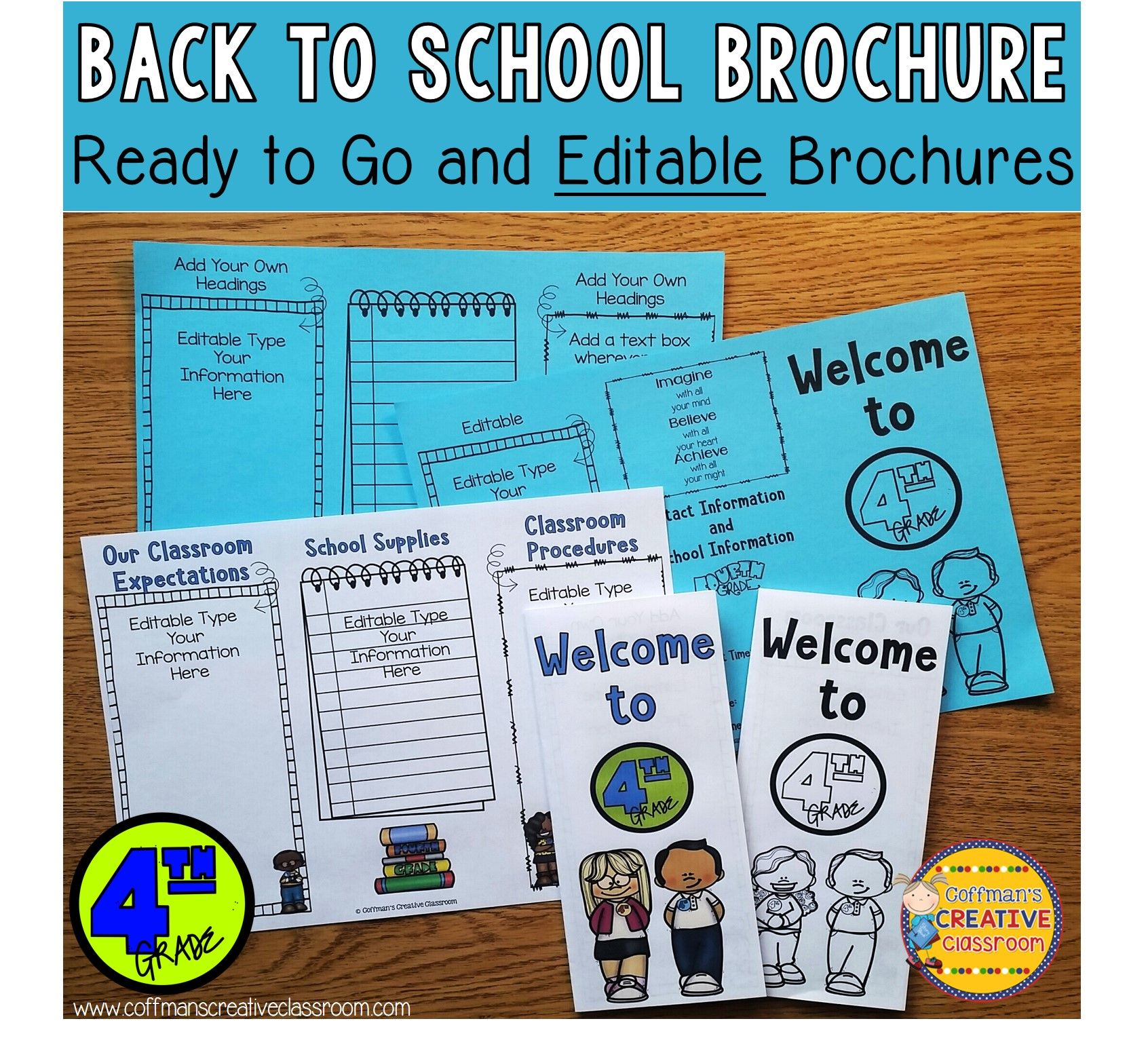 Back To School Editable Brochure 4th Grade