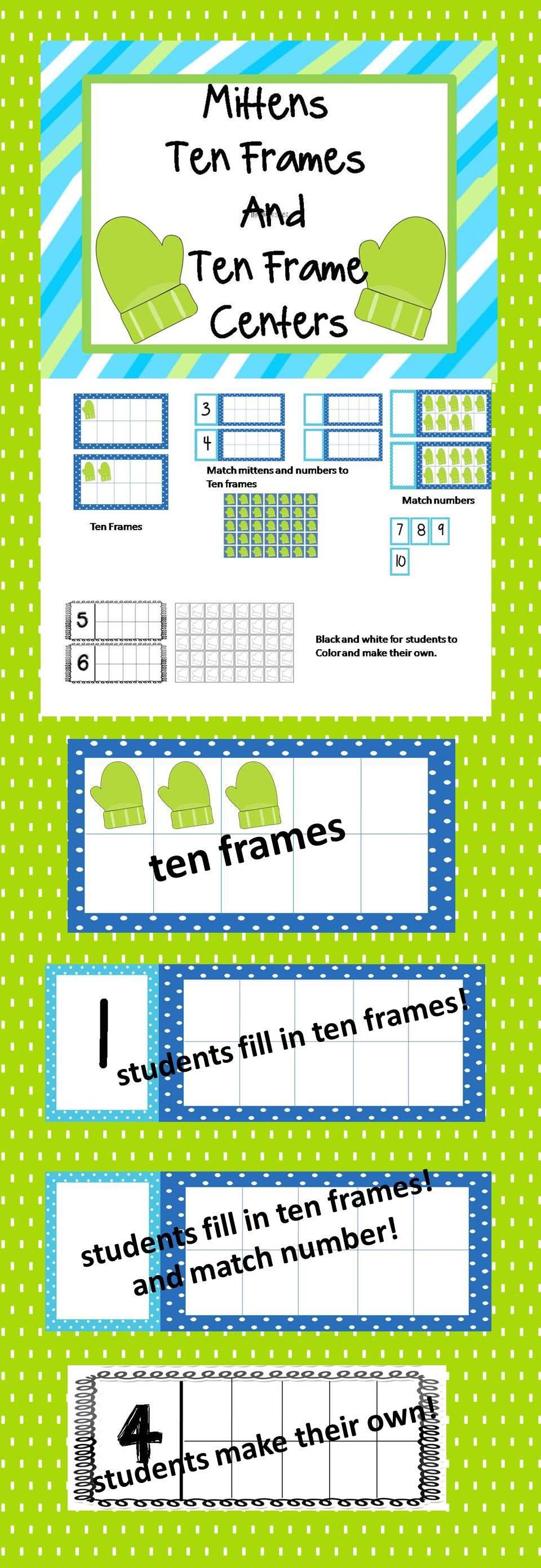 Mittens Ten Frames and Ten Frames Centers | Ten frames, Mittens and ...