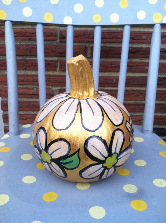 Small acrylic flower painted pumpkin pumpkin carving Flower painted pumpkins