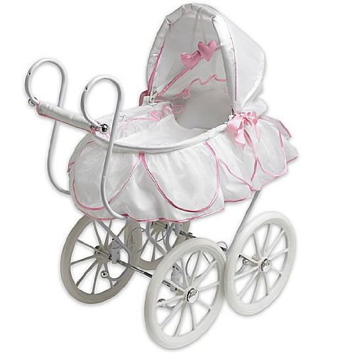 Victorian Pram White Pink Doll Stroller Buggy For American Girl S Bitty Baby Amazon Everything Else Baby Strollers Baby Doll Furniture Stroller