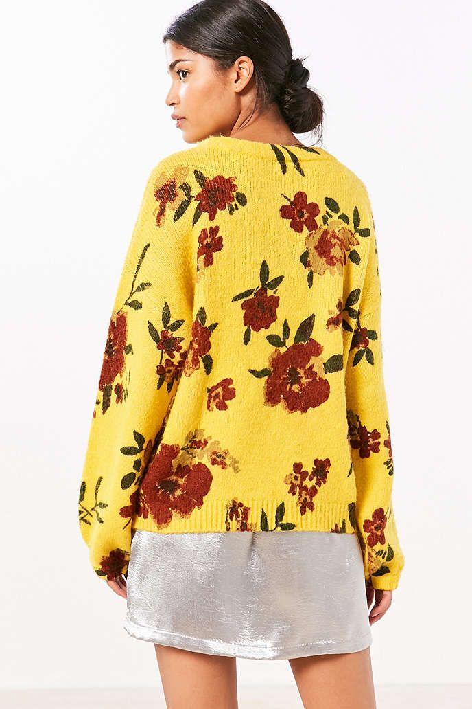 Kimchi Blue Floral Balloon-Sleeve Pullover Sweater | Kimchi ...
