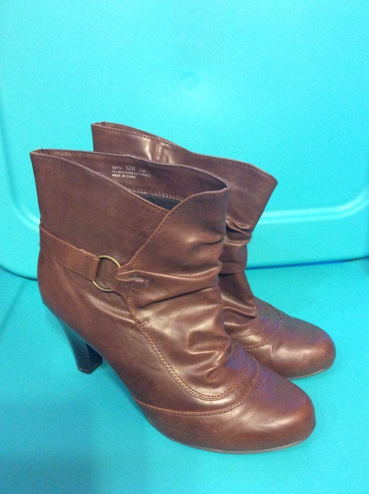 de3b9c7ff981 Women s Cloudwalkers Heel Boots Size 12w 12 Wide Brown