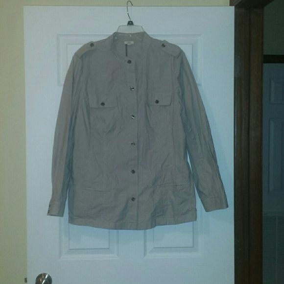 J. Jill Shirt J. Jill, Button up shirt, off white and grey pin stripes. Great condition. Size XL tall. J. Jill Tops Button Down Shirts