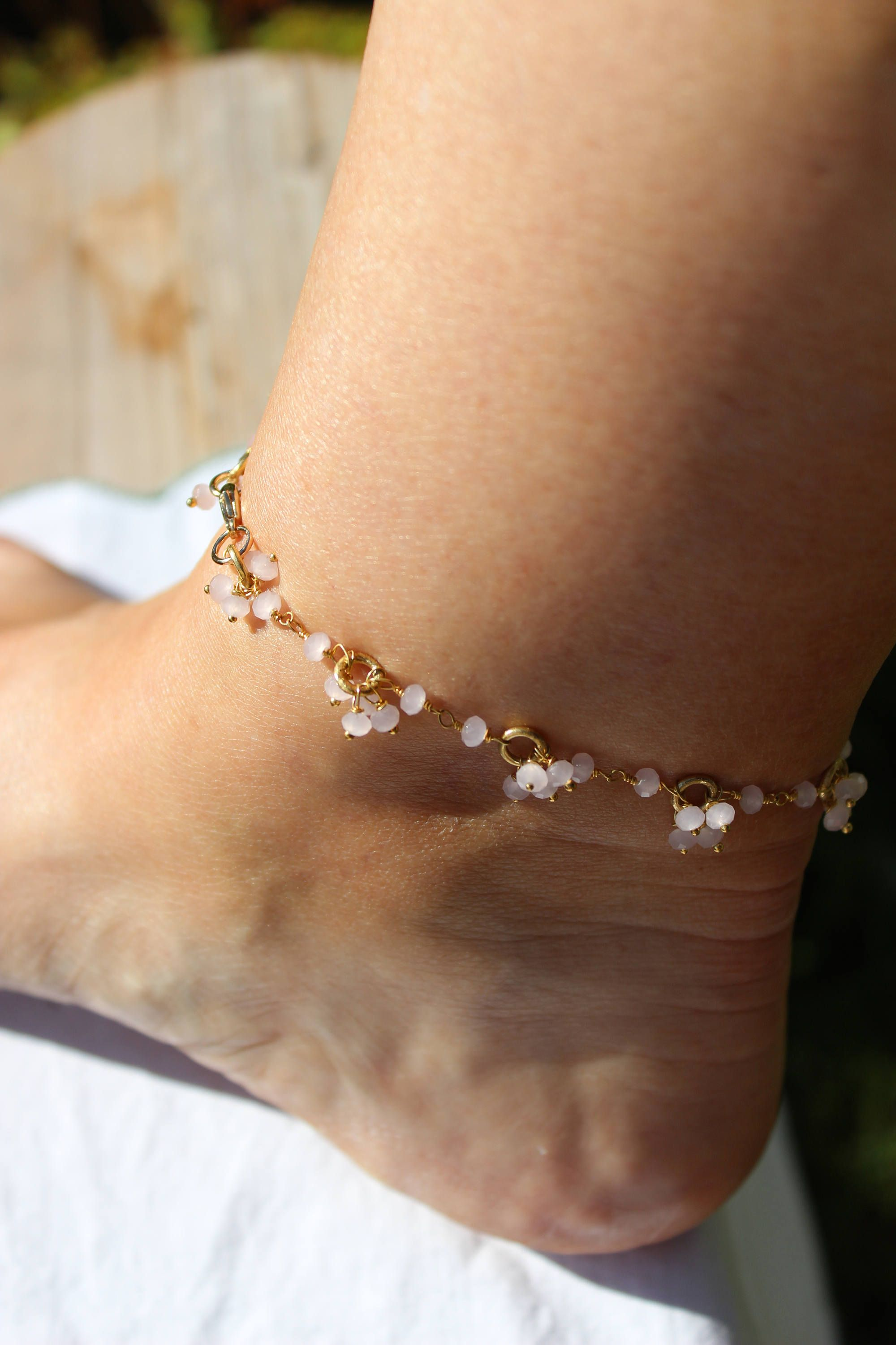 rose beaded rainbow anklet moonstone hearts gold women anklets for wanderlust products