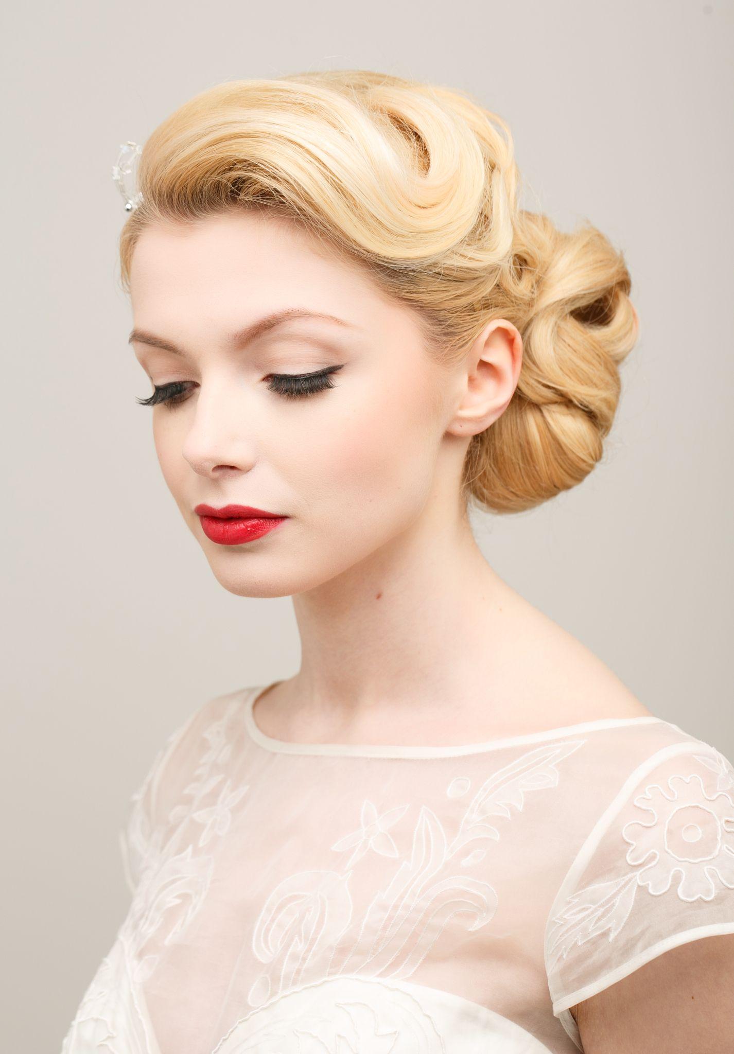 Bridal Hair And Makeup Vintage Style Updo Red Lip Natural Makeup Vintage Wedding Hair Retro Wedding Hair Bridal Hair And Makeup