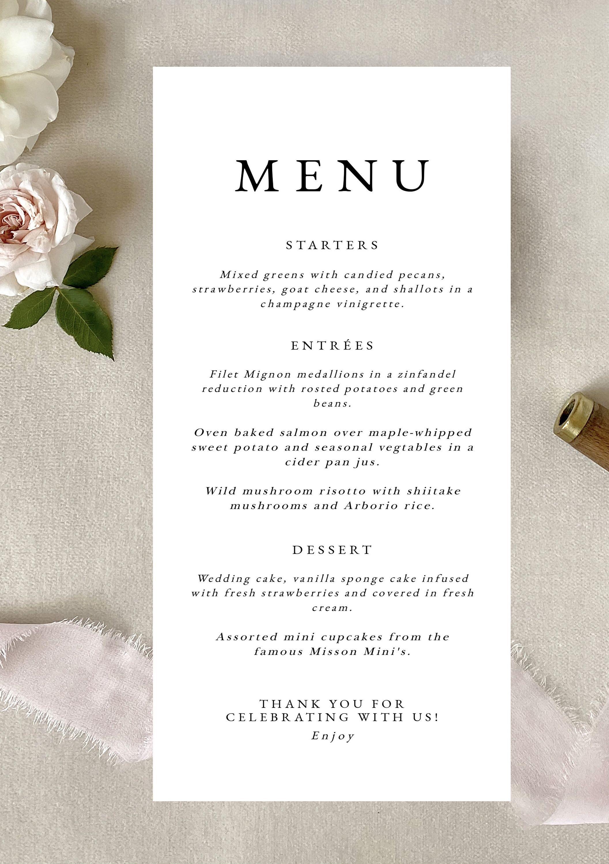 Modern Wedding Menu Template Simple Wedding Menu Cards Etsy In 2021 Wedding Menu Cards Wedding Menu Template Wedding Reception Menu