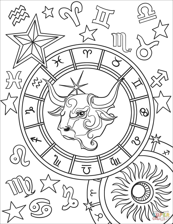 Taurus Zodiac Sign Super Coloring Love Coloring Pages Printable Coloring Pages Coloring Pages