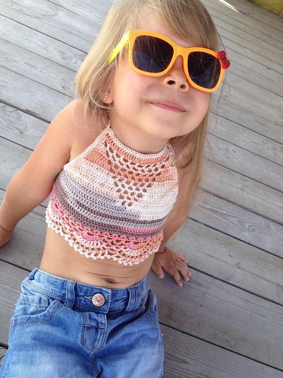 Crochet Halter Top Crochet Toddler Top Toddler Crop Top
