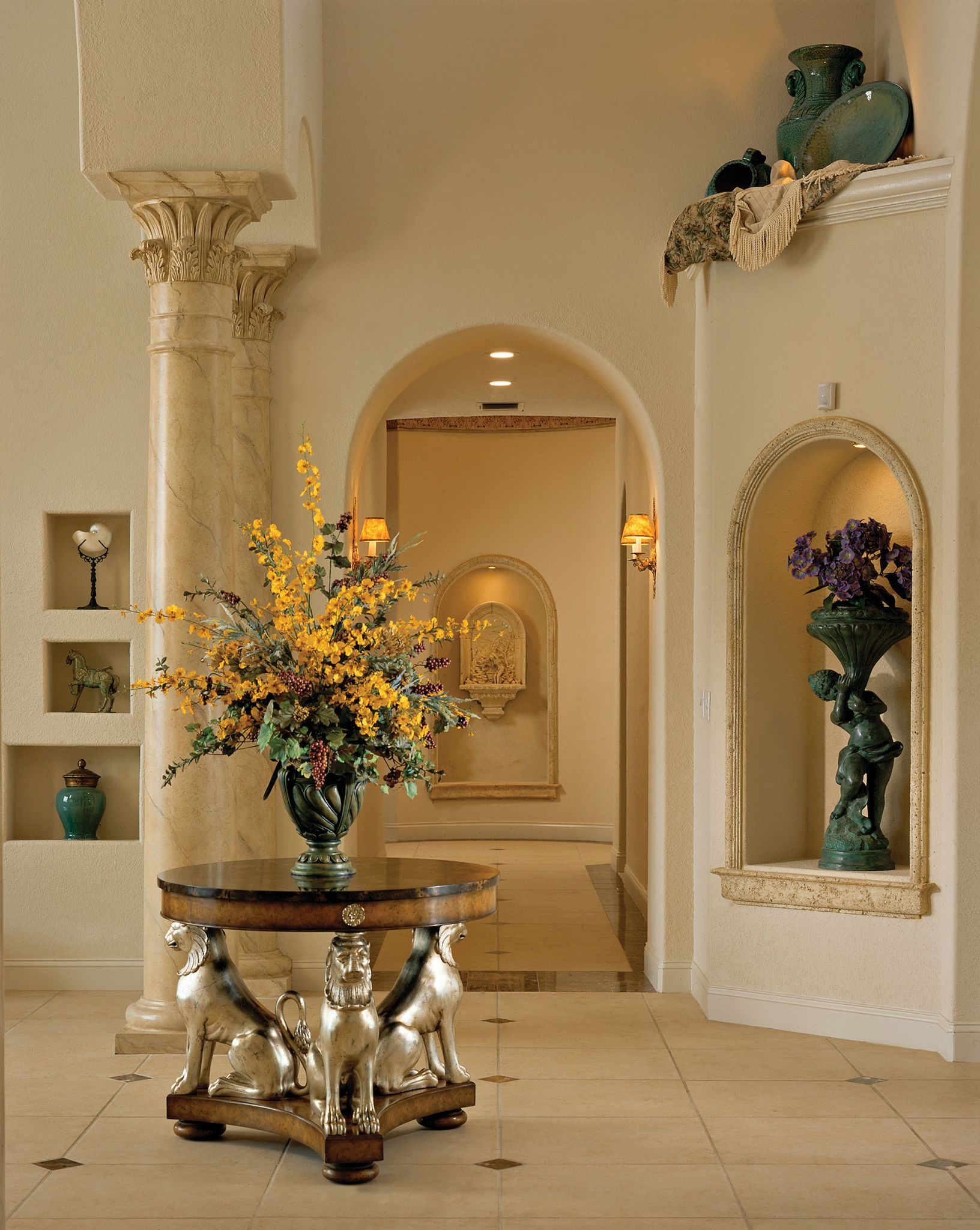 Foyer Art Niche : Lighted wall niches home walls ceilings and floors