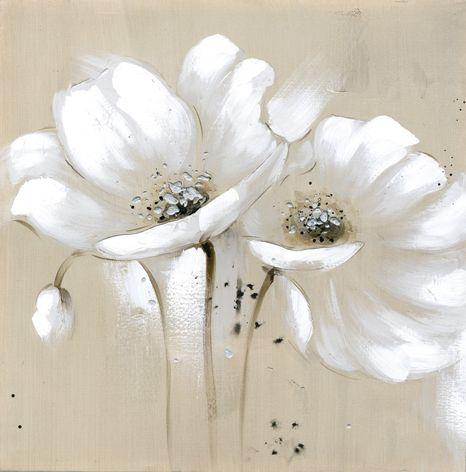 Toile beige fleurs blanches couteau peinture l 39 huile mur art de toile grise bouteille for Peinture beige rose
