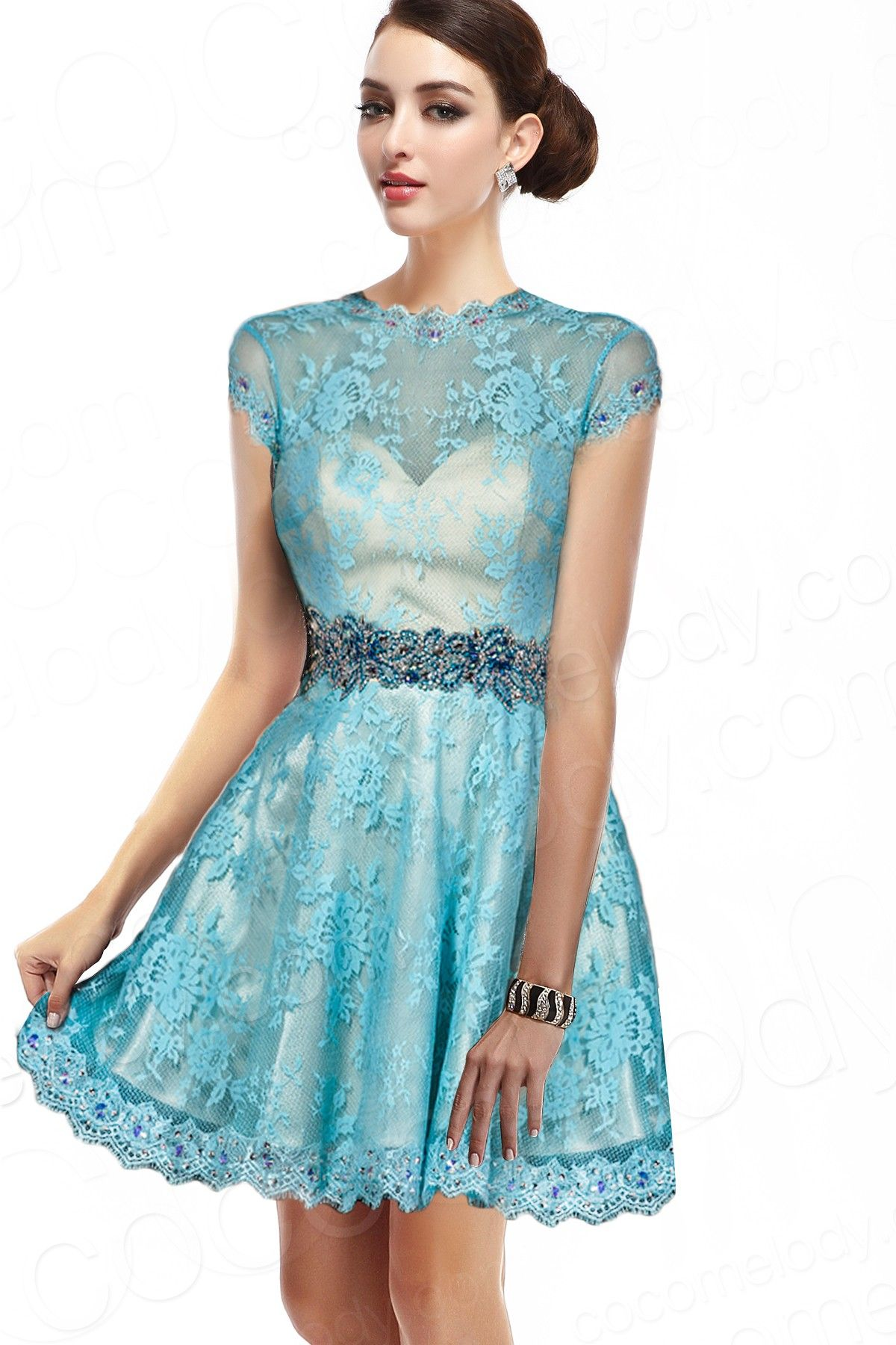 Light green lace dress  Charming ALine Illusion ShortMini Lace Light Sky Blue Cap Sleeve